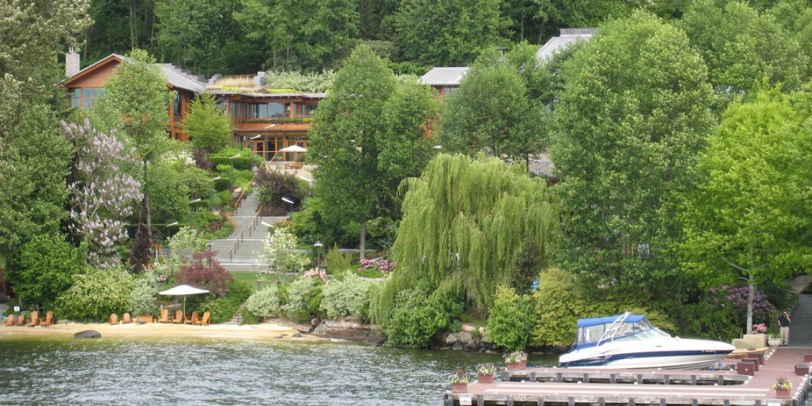 Bill Gates's house as seen from Lake Washington