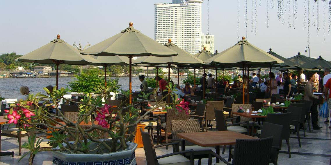 Breakfast at the famous Oriental Hotel on Bangkok's Chao Phraya River