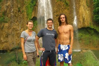 Stina, Hank, and Christian in front of one tier of Thee Lo Su, Thailand's largest waterfall