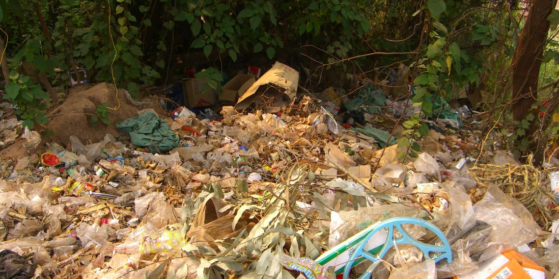 Plastic trash piles up near Huay Xai, Laos