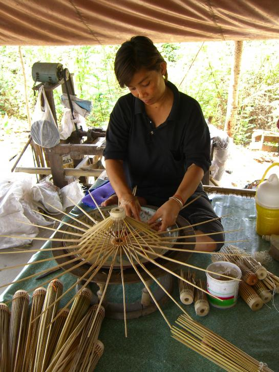 A woman makes an umbrella at the factory in Bor Sang near Chiang Mai