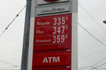High gas prices at a gas station in downtown Seattle