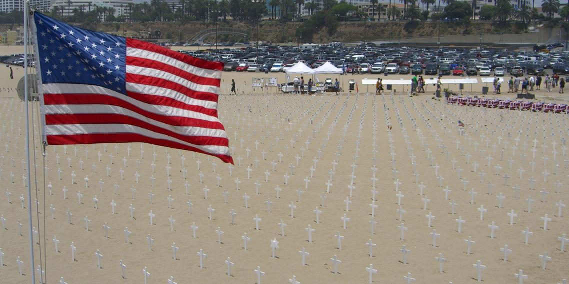 A memorial cemetery sits on Santa Monica Beach