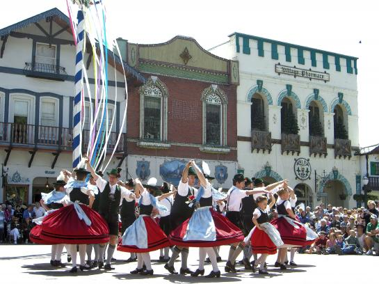 Local residents dance in lederhosen and dirndls during Leavenworth's annual Maifest festival.