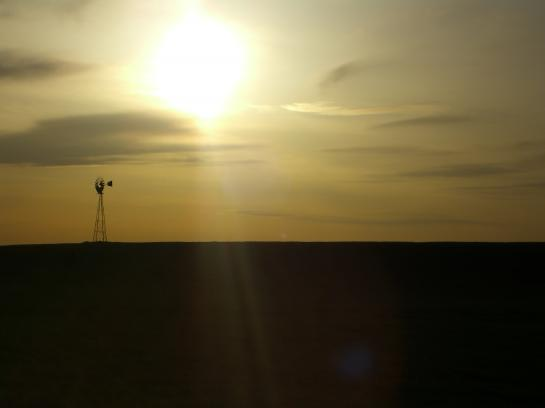A windmill in the Yakima Valley at sunset