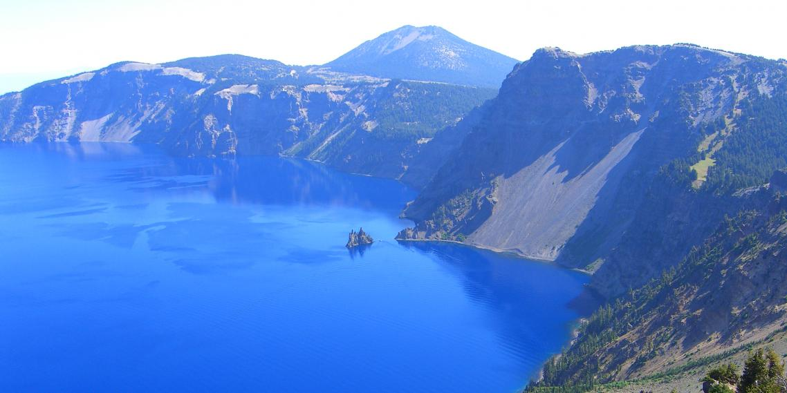 Crater Lake, in the Cascade Mountains in Southern Oregon, lies in a collapsed volcanic basin.