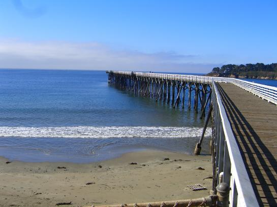 San Simeon Pier reaches into the Pacific Ocean from William R. Hearst Memorial State Beach in California.