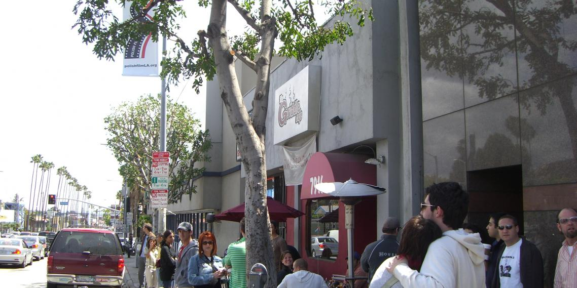 Tens of people wait on a weekend morning to get into The Griddle Cafe in West Hollywood