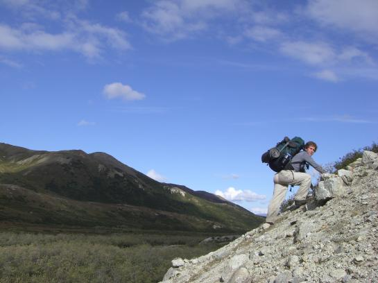 Brian tries to get to higher ground in Denali National Park.