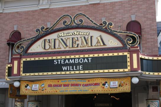 Steamboat Willie, the first Mickey Mouse cartoon with sound, can be seen at the Main Street Cinema in Disneyland.