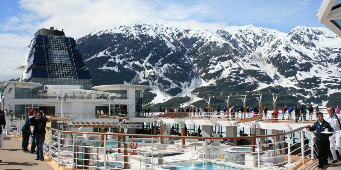 The Celebrity Infinity sails near Alaska's Hubbard Glacier