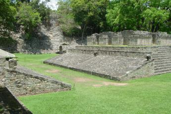 The ruins in Copan, Honduras include a Mesoamerican ballgame court.