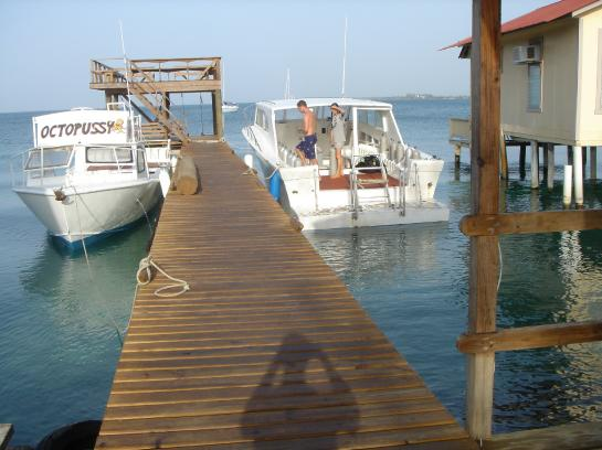 Útila Dive Center's dock and boats