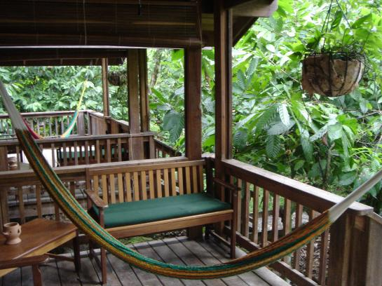A bungalow porch hammock at The Lodge at Pico Bonito in La Ceiba, Honduras.