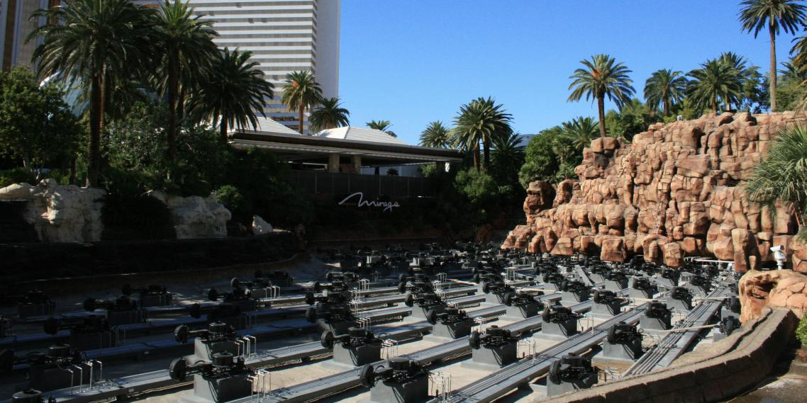 Construction exposes the underbelly of the Las Vegas facade and inhuman lava machines at The Mirage.