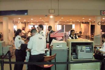A TSA security checkpoint at JFK International Airport in New York