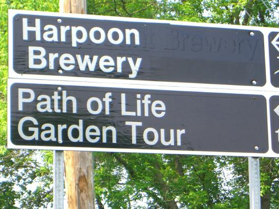 "A road sign in Windsor, Vermont advertises a ""Path of Life"" Garden Tour."