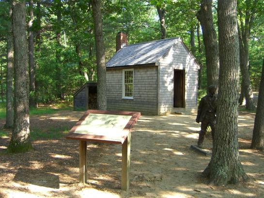 A replica of Thoreau's cabin stands near Walden Pond.