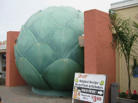 A sculpture of an artichoke sits outside the World Famous Giant Artichoke Family Restaurant in Castroville, California.