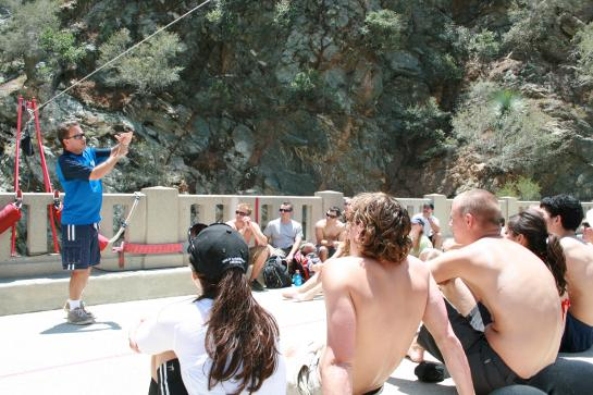 A Bungee America representative explains the art of bungee jumping.