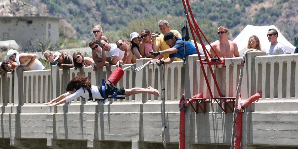 A thrillseeker dives off the Bridge to Nowhere in the San Gabriel Mountains.