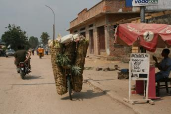 Kisangani street scene with cell phone store