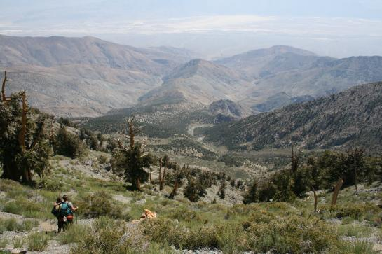 Hikers enjoy a view of Death Valley from Telescope Peak.
