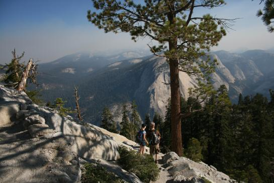 View from Half Dome sub-dome with hikers