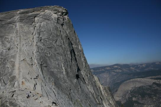 People looking at Half Dome cables
