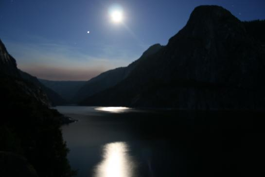 Hetch Hetchy reservoir view at sunset with moon reflection