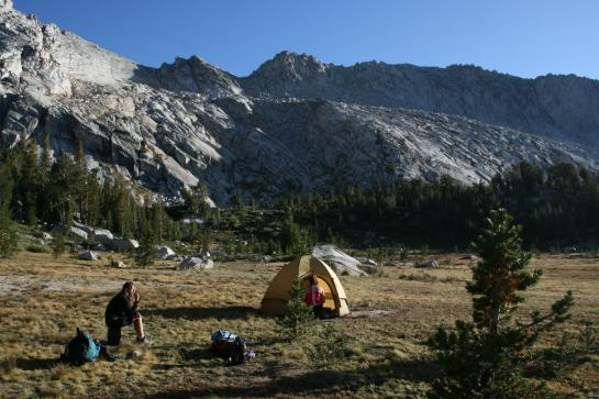 Wini, Wendy with tent in Tuolumne Meadows at Young Lakes