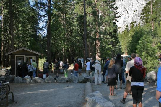 People waiting in line at Camp 4 ranger station