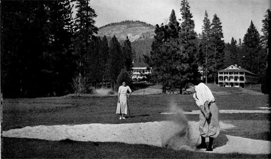A 1932 Ansel Adams photo shows golfers in front of the Wawona Hotel in Yosemite National Park.