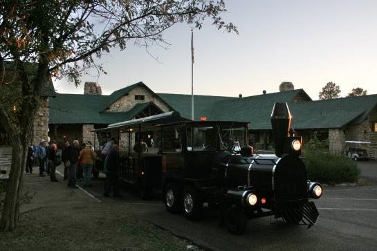 A truck-tram made to look like a 1920s train brings guests to the Grand Canyon Cookout Experience.
