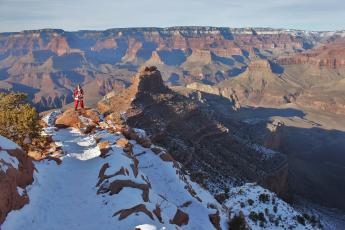 Santa Claus (a.k.a. Brian) dons a Santa suit on the Grand Canyon's South Kaibab Trail.
