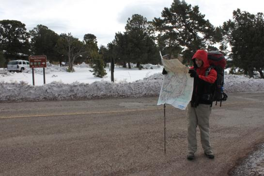 Hank searches for the Grand Canyon's Bright Angel Trailhead on a topographical map. (photo by Brian Leukart)