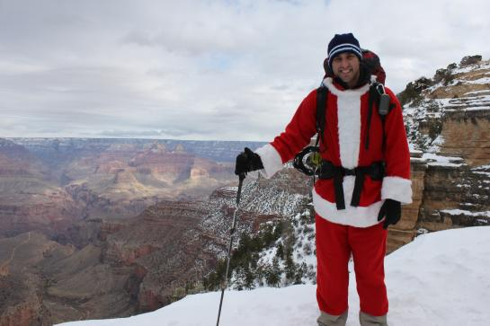 Hank poses in his Santa suit on Bright Angel Trail. (photo by Brian Leukart)