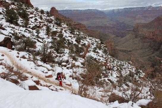 Santa Claus (a.k.a. Hank) walks down Bright Angel Trail into the Grand Canyon. (photo by Brian Leukart)