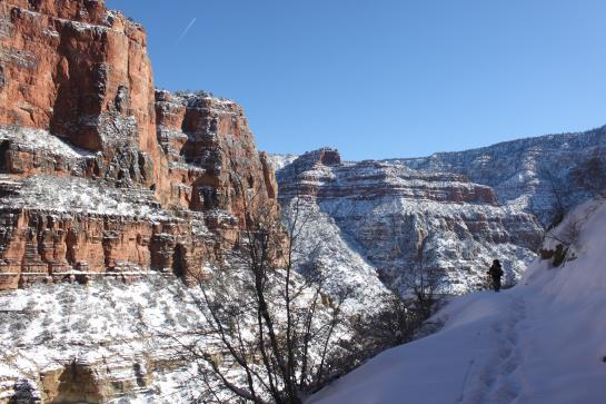 Brian hikes on the snowy North Kaibab Trail below the Grand Canyon's North Rim.