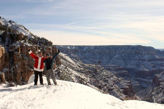 Santa Claus (a.k.a. Hank) and Brian celebrate on the Grand Canyon's North Rim.