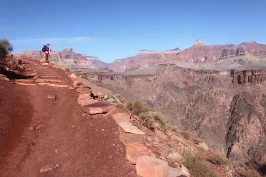 Santa Claus (a.k.a. Brian) looks out at the Grand Canyon from the South Kaibab Trail.