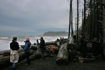Twilight fans photograph the Pacific Ocean on First Beach in La Push, Washington.