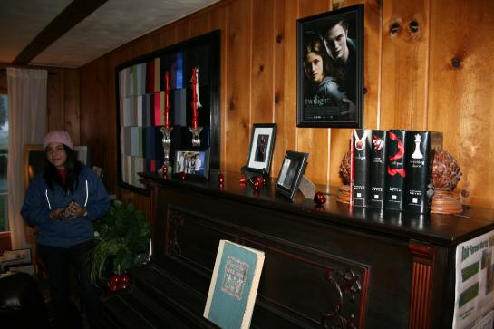 Twilight memorabilia and graduation caps sit in the living room of the Miller Tree Inn.