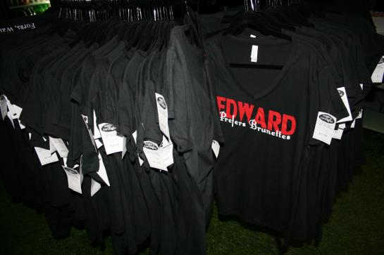 Souvenir T-shirts hang in the Dazzled by Twilight store in Forks, Washington.