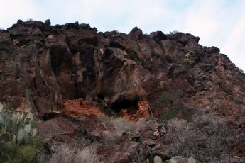 A cliff dwelling built by the Verde Hohokam sits on the rim of Sycamore Canyon in Arizona.