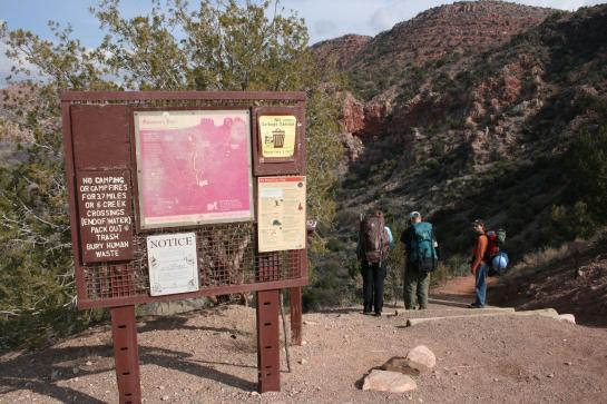 The Sycamore Canyon hike trailhead sign