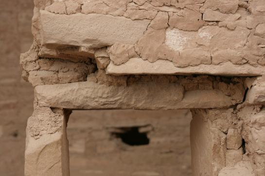 Sandstone bricks form the Spruce Tree House ruins in Mesa Verde National Park.