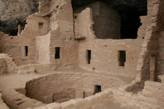 An uncovered kiva, a room used for ancient Native American religious ceremonies, in Spruce Tree House in Mesa Verde National Park