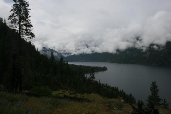 An overcast sky covers Lake Chelan.
