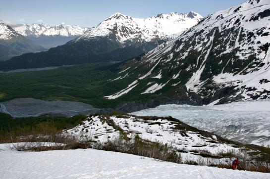Hikers follow the Harding Icefield Trail in Kenai Fjords National Park.